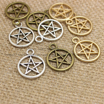 Three Color Vintage Metal Alloy Pentagram Charms Jewelry Pendant Charms Findings 50pcs 20*25mm T0337
