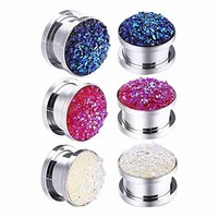 6PC Screw Fit Ear Plugs Surgical Steel Synthetic Druzy Stretch Tunnel Gauges Set 14mm
