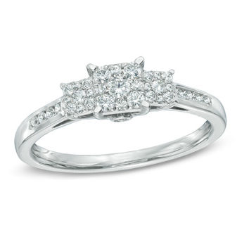 1/3 CT. T.W. Diamond Square Composite Three Stone Engagement Ring in 10K White Gold