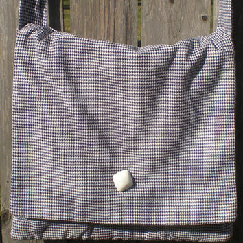 Navy and white vintage houndstooth fabric messenger with adjustable strap and vintage bakelite button
