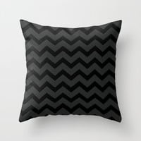 Black and Gray Chevron Pillow Cover Includes Insert - Large Chevron Pattern - Sofa Pillow - Throw Pillow - Made to Order