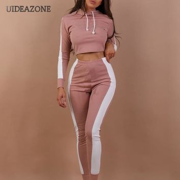 Women Pink Solid Patchwork Casual 2 Piece Set Sexy Hoodie Crop Tops Skinny Pants Sweatsuits Two Piece Tracksuits Streetwear