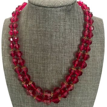 W. Germany Two Strand Red Necklace, Faceted Raspberry Red Graduated Beads, Hard Resin Crystals, Mid-Century Design, Marked, Gift for Her