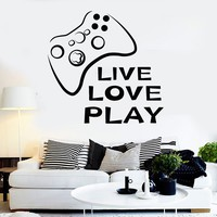 Vinyl Wall Decal Video Game Quote Joystick Play Room Stickers Unique Gift (ig3689)