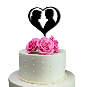Cake Toppers Bride and Groom In Heart Wedding Cake Toppers