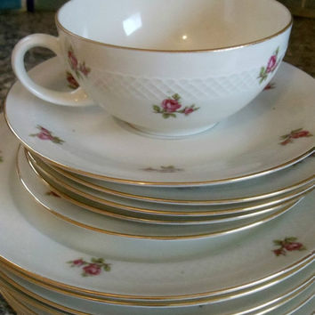 BIG SALE Tea Set China Tea Pot Gold Rimmed Tea Cups Roses Vintage ESCHENBACH Germany
