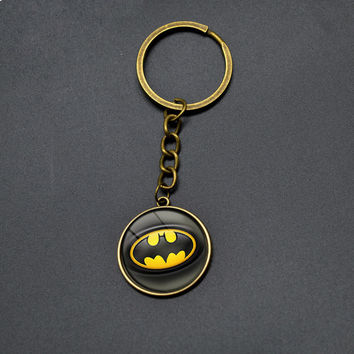High Quality Vintage Batman DC Anime Key Chains Cute Bat Pendant Keychain For Boys Students Cartoon Jewelry Super Hero Key Rings