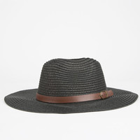 Belt Band Womens Straw Panama Hat Black One Size For Men 23464510001