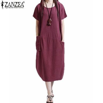 Vestidos ZANZEA 2017 Summer Style Women Elegant Linen Short Sleeve Casual Loose Dress Mid-calf Solid Dresses Plus Size Oversized