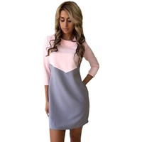 Elegant White Black Patchwork Office Dress Women Autumn Fashion Casual There Quarter Sleeve OL Tunic Dresses Ladies robe femme