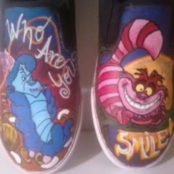 SALE Custom Alice In Wonderland Cheshire Cat and Hookah Smoking Caterpillar Vans Converse Toms Shoes