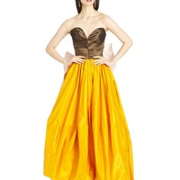 TRI-COLOR SILK TAFFETA GOWN WITH BOW BACK