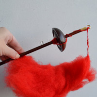 Brown Top Whorl Drop Spindle Wood Deep Dark  Color With Some Lovely Wool - Red Wool