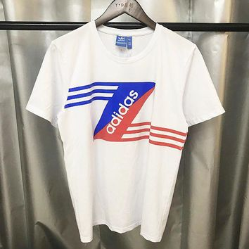 Adidas Sports T-shirt casual breathable cotton round neck T-shirt Z Stripes White