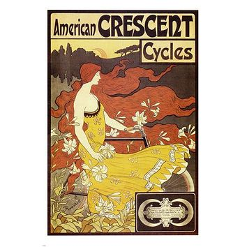 VINTAGE AMERICAN CRESCENT CYCLES poster woman long flowing hair bike 24X36 