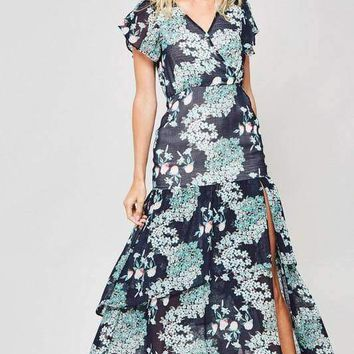 Floral Butterfly Sleeve Maxi Dress - Navy