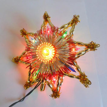 Vintage Lighted Christmas Star Universal Illuminated Tree Top 10 Lights Gold Tinsel Vintage Tree  Christmas Decoration  8 Pointed Star