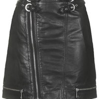Leather Biker Mini Skirt - Black