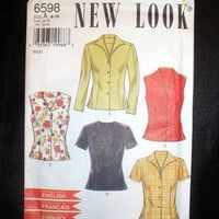 Womens Blouse Shirt Size 8,10,12,14,16,18 New Look 6598 Sewing Pattern