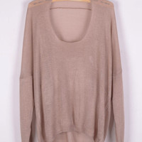 Long Sleeve Short Front Knit Sweater