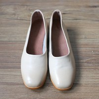 Handmade Soft Leather Round Toe Loafer Pumps Apricot