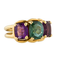 Tourmaline and Amethyst 3-Stone Ring