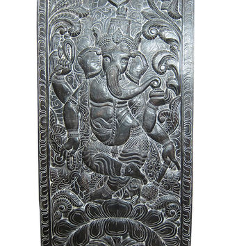 Ganesha Wall Panel India Hand Carving Dancing Ganesh Doors