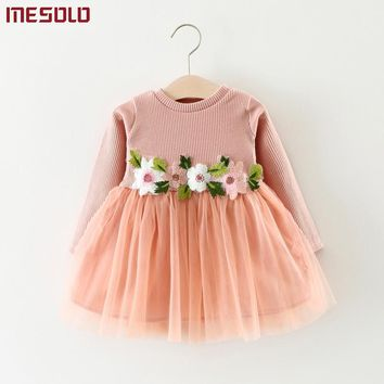 Autumn winter baby girl dress Fashion flowers kids clothes Lase wedding party costume for children baby girls birthday dresses