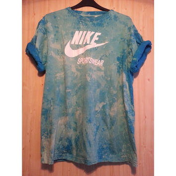 Reworked Tie Dye Seapunk Retro Sports Nike T shirt Mens XXL Unisex Oversized 90s grunge Acid Wash Indie