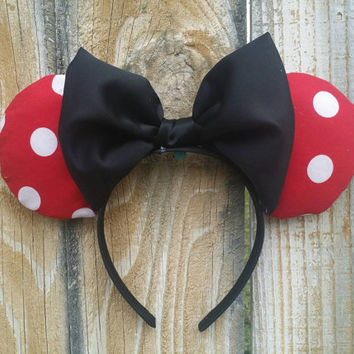 Minnie mouse ears in red with white polka dots