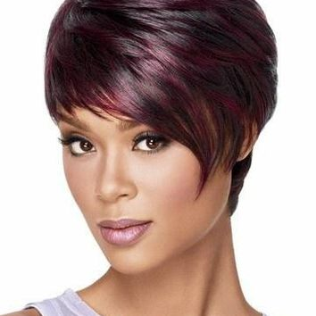 Afro Short Pixie Cut Wig with Bangs Straight Synthetic African American Wigs for Women (Color: Claret Wine Red)