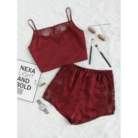 Lace Insert Crop Cami And Shorts Pajama Set BURGUNDY
