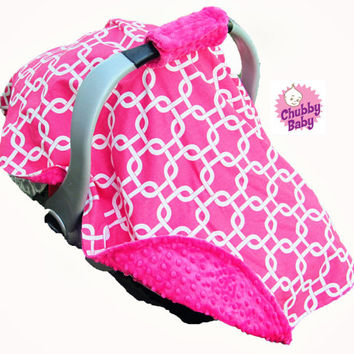 Canopy Tent Cover lined with Minky for your Infant Car Seat with Padded Handle Cover- Pick Your Own Design