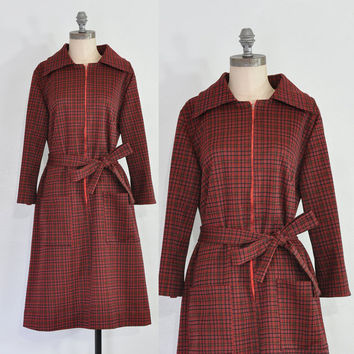 25% OFF SALE 1960s Plaid Dress • Vintage Red Belted Dress • Vintage 60s Red Plaid Dress • Belted 60s Dress • Christmas Dress • Zipper Shift