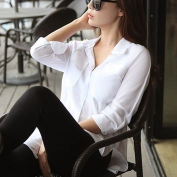 Botton-Up Silk Blouse - White