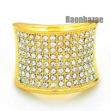 DCCKH7E MENS HIP HOP RAPPER CHUNKY ICED OUT PAVE 14K GOLD PLATED RING SIZE 7 - 12 N010G