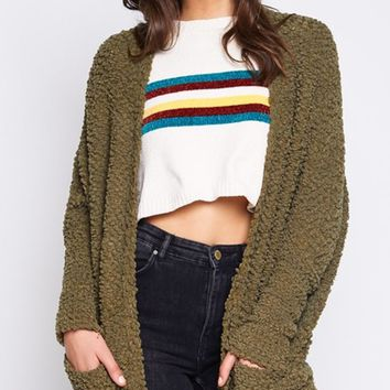 Whatever You Say Shaggy Knit Long Sleeve Open Front Loose Cardigan Sweater - 2 Colors Available