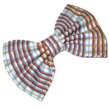 Striped fabric bow, zig zag line pattern, Womens and girls bows, trendy preppy accessories, blue, brown, burgundy stripes