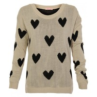 Stone Knit Long Sleeve Sweater with All Over Heart Print
