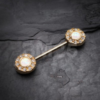 Golden Opal Elegance Nipple Barbell Ring