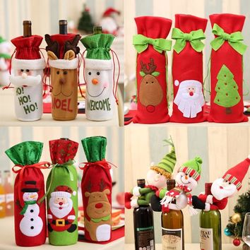 Christmas Wine Bottle Decor Set Santa Claus Snowman Deer Bottle Cover Clothes Kitchen Decoration for New Year Xmas Dinner Party