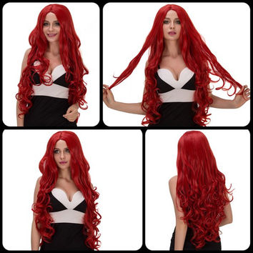 Vogue Long Fluffy Wavy Middle Part Red Synthetic Capless Cosplay Wig For Women