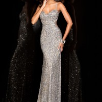 Scala 48474 Sexy Backless Silver Sequin Gown