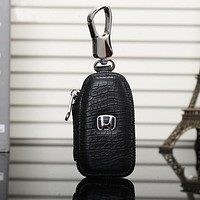 Honda Fashion Leather Zipper Car Key Wallet Case Cover