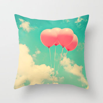 Balloons in the sky (pink ballons in retro blue sky) Throw Pillow by Andrea Caroline  | Society6