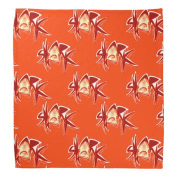 shark graphic text illustration red tint bandana