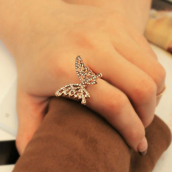 2016 9K Rose Gold Ring Filled with AAA CZ Hollow Butterfly Shape Rings Size 7 Bijouterie Trinket Charms Summer Jewelry For Woman