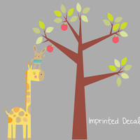 Helping Hand Giraffe Rabbit with Tree Vinyl Wall Decal Sticker Reusable Cute Kids Playroom Nursery