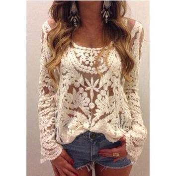 Crochet Lace T Shirt Floral Top Women Blouse Sheer Embroidery Sleeve Semi Hot = 1946676484