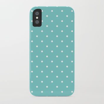 Small White Polka Dots with Aqua Background by CoolFunAwesomeTime